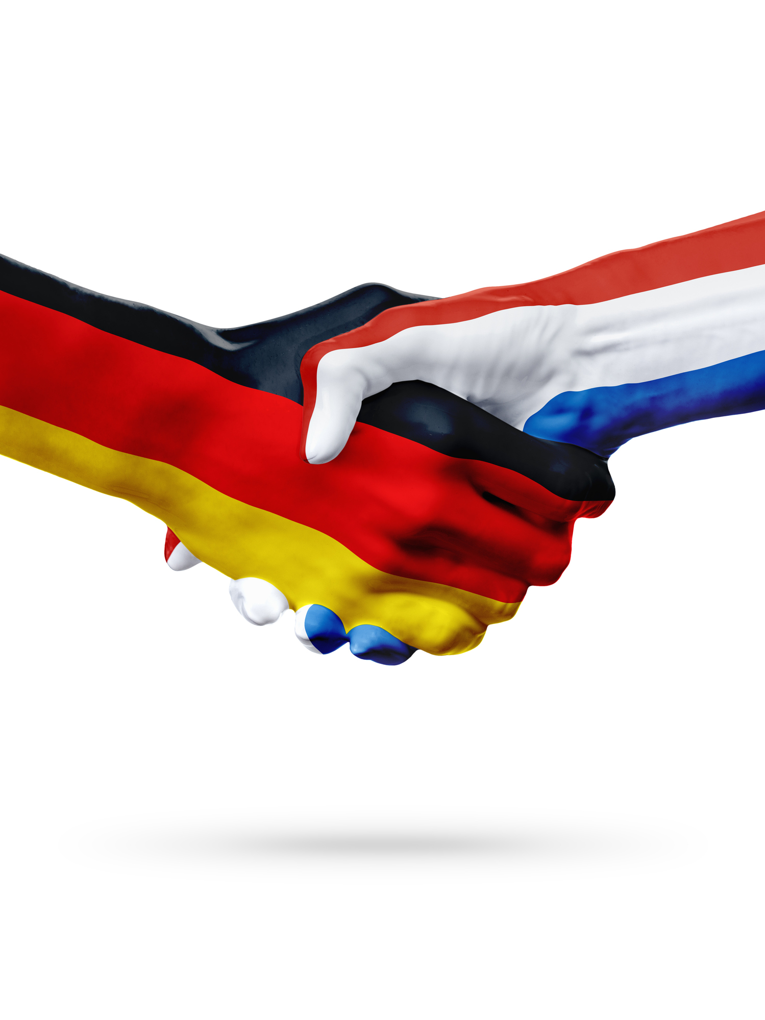 Flags Germany, Netherlands countries, partnership friendship handshake concept.